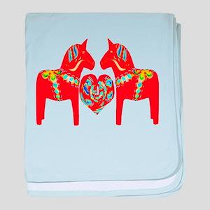 Swedish Dala Horses baby blanket