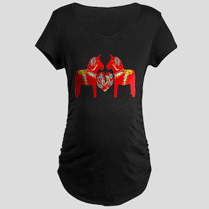 Swedish Dala Horses Maternity Dark T-Shirt