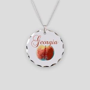 Georgia Peach Necklace Circle Charm