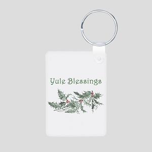 Yule Blessings Aluminum Photo Keychain