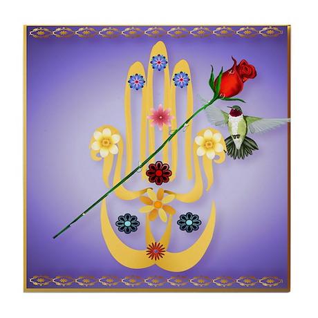 Hamsa and Flowers Tile Coaster