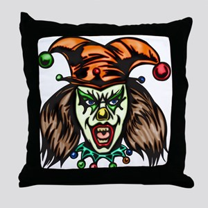 Mentally Unstable Evil Clown Throw Pillow