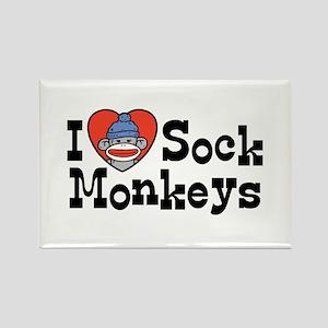 I Love Sock Monkeys Rectangle Magnet