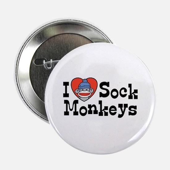 I Love Sock Monkeys Button