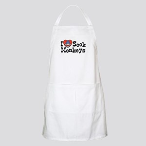 I Love Sock Monkeys BBQ Apron