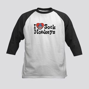 I Love Sock Monkeys Kids Baseball Jersey