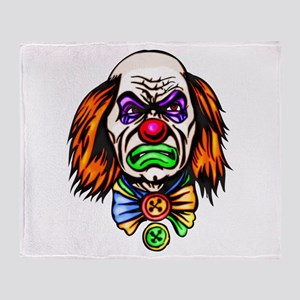 Evil Clown Face Throw Blanket