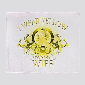 I Wear Yellow for my Wife (fl Throw Blanket