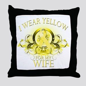 I Wear Yellow for my Wife (fl Throw Pillow