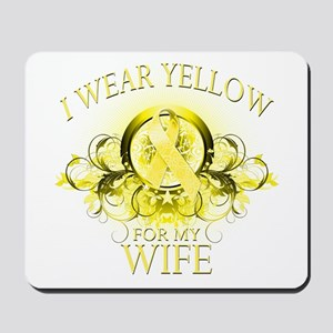 I Wear Yellow for my Wife (fl Mousepad