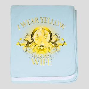I Wear Yellow for my Wife (fl baby blanket