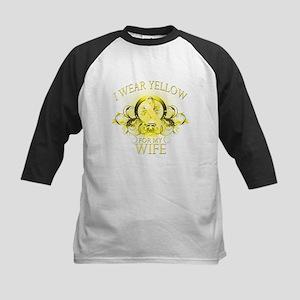 I Wear Yellow for my Wife (fl Kids Baseball Jersey
