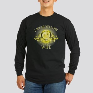 I Wear Yellow for my Wife (fl Long Sleeve Dark T-S