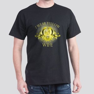 I Wear Yellow for my Wife (fl Dark T-Shirt