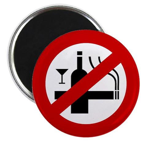 Funny NO Smoking Alcohol Sign Magnet