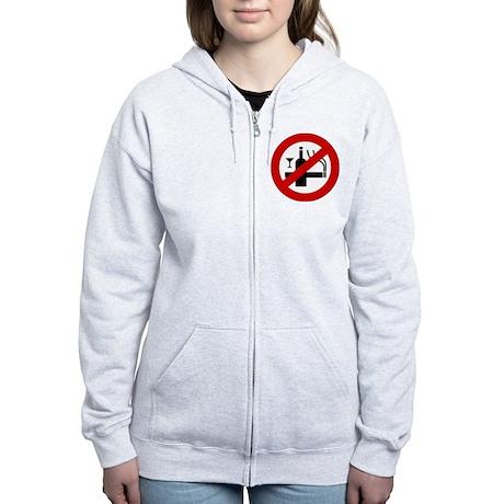 Funny NO Smoking Alcohol Sign Women's Zip Hoodie