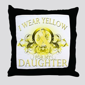 I Wear Yellow for my Daughter Throw Pillow
