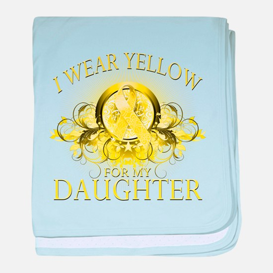 I Wear Yellow for my Daughter baby blanket