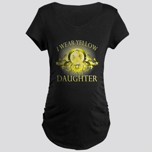 I Wear Yellow for my Daughter Maternity Dark T-Shi