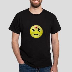 Bullet Hole Smiley Black T-Shirt