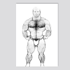 HAIRY MUSCLE BEAR_ Postcards (Package of 8)