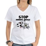 Stop Animal Abuse - Women's V-Neck T-Shirt