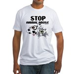 Stop Animal Abuse - Fitted T-Shirt
