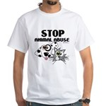 Stop Animal Abuse - White T-Shirt