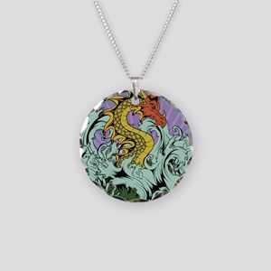 Sea Serpent Necklace Circle Charm