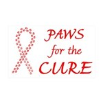 Red Paws4Cure 38.5 x 24.5 Wall Peel