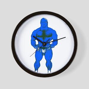 HAIRY MUSCLE BEAR_BLUE_ Wall Clock