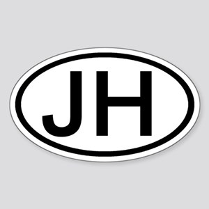 JH - Initial Oval Oval Sticker