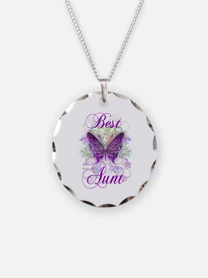 Best Aunt Necklace Circle Charm