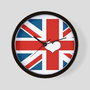 union jack love Wall Clock