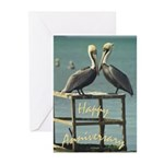Happy Anniversary Pelicans Greeting Cards (Pk of 2