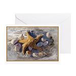 Star Fish & Seashells Greeting Cards (Pk of 10)