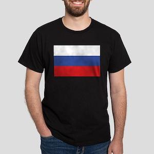 Russia Flag Black T-Shirt