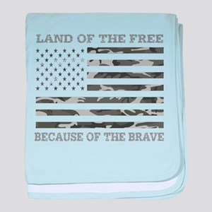 Land Of the Free Because of The Brave baby blanket