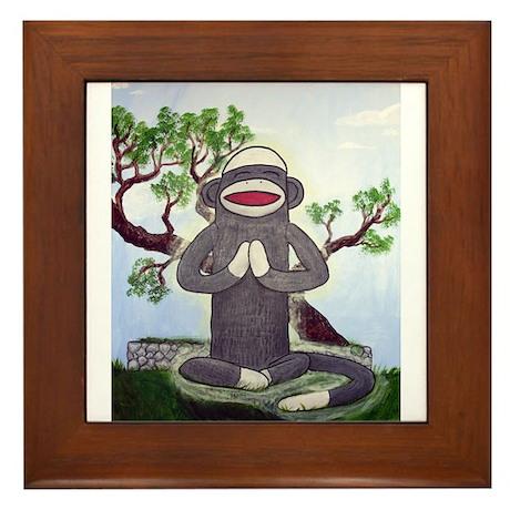 Sock Monkey Nirvana Framed Tile