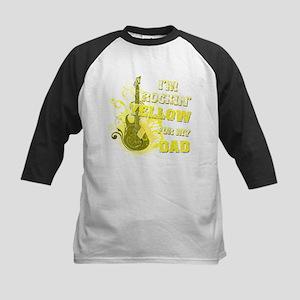 I'm Rockin' Yellow for my Dad Kids Baseball Jersey