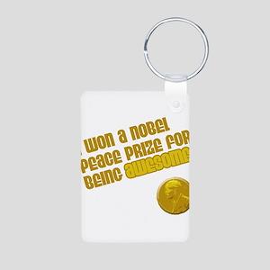 Obama Nobel Prize Aluminum Photo Keychain