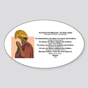 Hawaiian Unity Prayer Oval Sticker