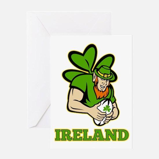 Ireland Leprechaun Rugby Greeting Card