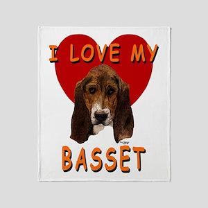 I Love My Basset Throw Blanket