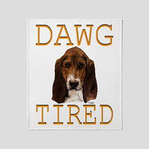 Dawg Tired Basset Throw Blanket