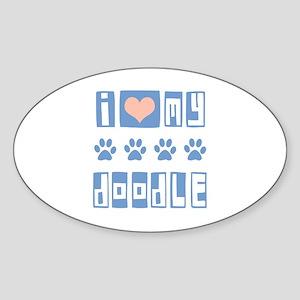 I Love My Doodle Sticker (Oval)