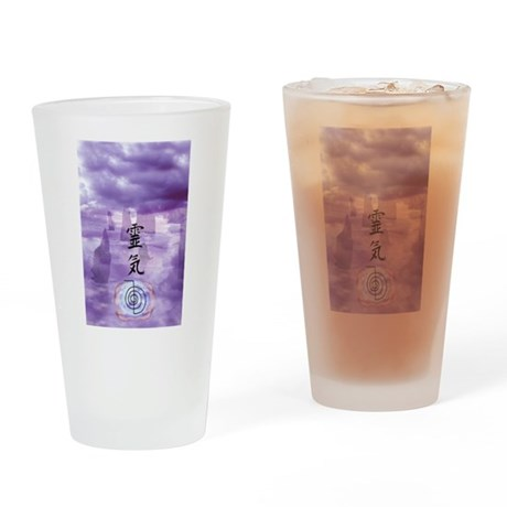 Reiki Art Drinking Glass
