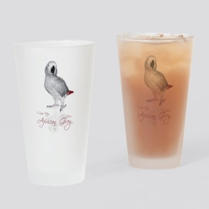i love my african grey Drinking Glass