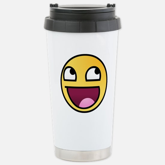 Awesome Smiley Stainless Steel Travel Mug