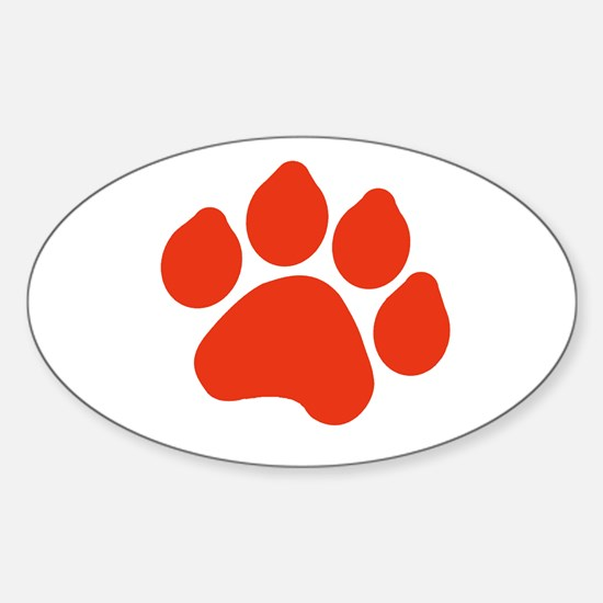 Red Paw Print Sticker (Oval)